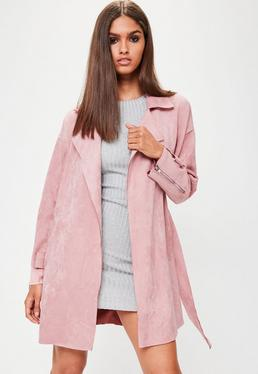 Pink Faux Suede Belted Trench Coat