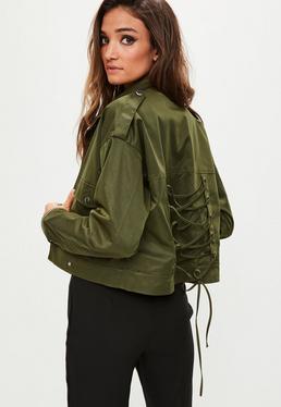 Khaki Lace Up Back Military Jacket