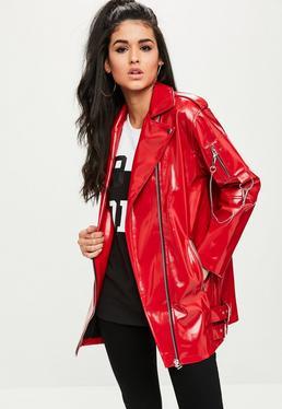 Red Longline Biker Jacket