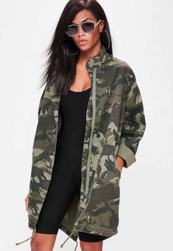 Khaki Camo Sequin Back Parka Jacket | Missguided