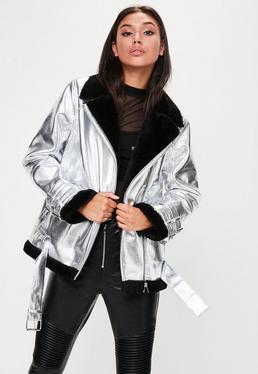Silver Metallic Shearling Jacket