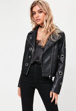 Black Faux Leather Eyelet Biker Jacket