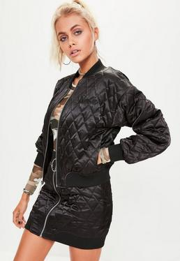 Barbie x Missguided Black Quilted Ring Pull Reversible Satin Bomber Jacket