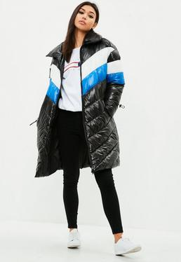 Black Longline Colour Block Puffer Jacket