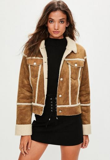 brown bonded contrast borg trucker jacket missguided