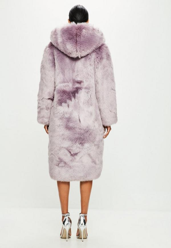 Peace   Love Purple Hooded Faux Fur Long Sleeve Maxi Coat | Missguided