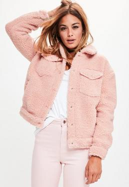 Pink Faux Shearling Trucker Jacket