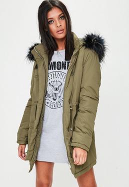 Khaki Hooded Parka Jacket