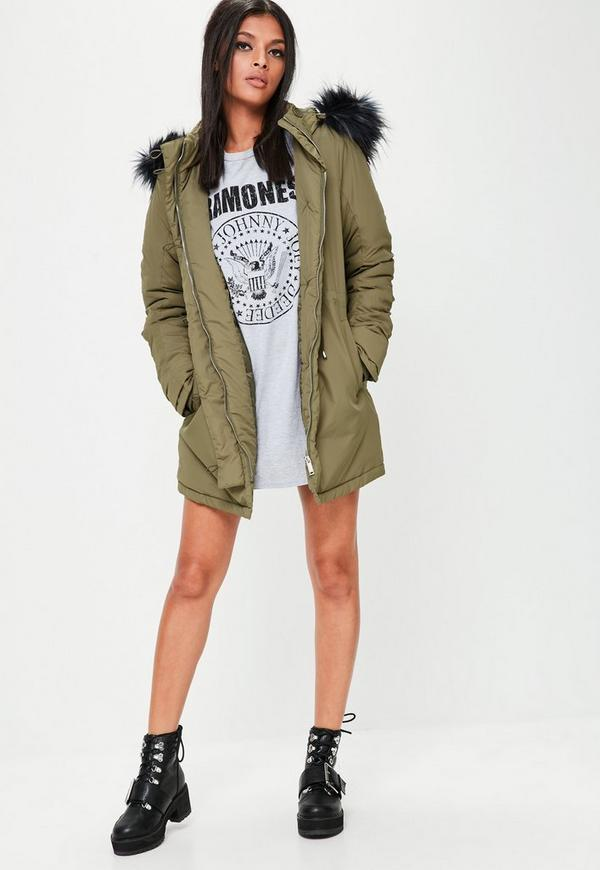 Khaki Hooded Parka Jacket | Missguided
