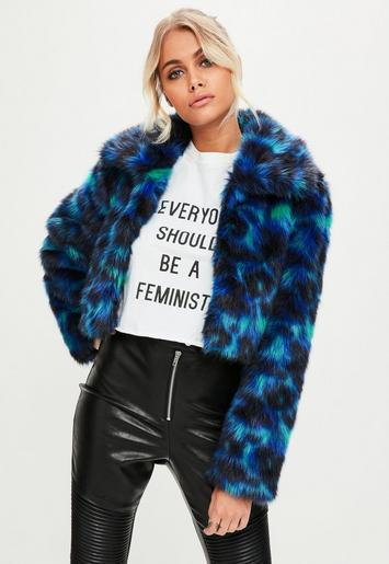 Blue Leopard Print Faux Fur Coat | Missguided