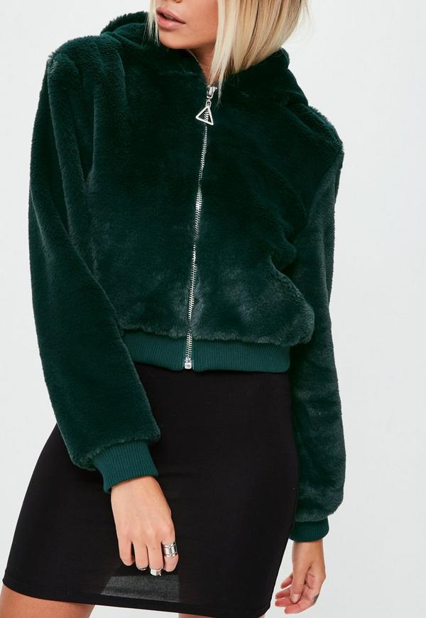 Green Faux Fur Hooded Jacket Missguided