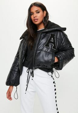 Black Super Cropped Padded Jacket