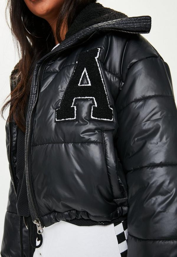 Black Super Cropped Puffer Jacket Missguided