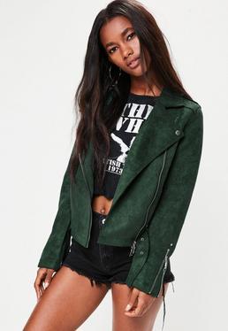 Green Raw Edge Biker Jacket