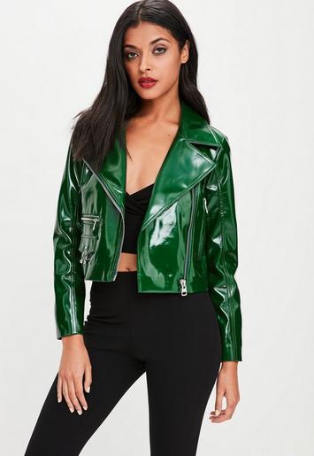 Green Vinyl Biker Jacket Missguided
