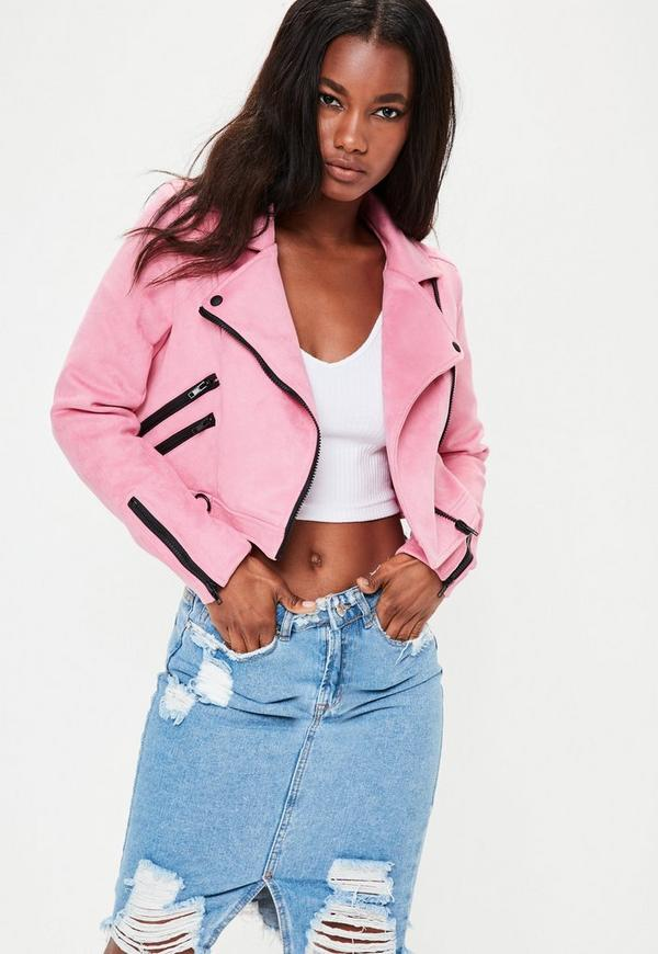 Pink Cropped Faux Suede Jacket