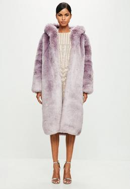 Peace + Love Purple Hooded Faux Fur Long Sleeve Maxi Coat