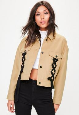 Brown Lace Up Detail Trucker Jacket