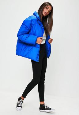 Chaqueta oversize acolchada en azul