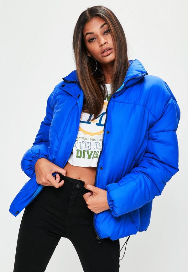 Blue Ultimate Oversized Puffer Jacket Missguided