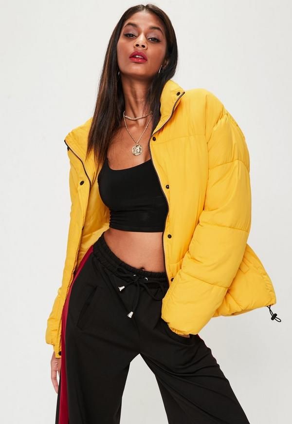 yellow ultimate oversized puffer jacket missguided. Black Bedroom Furniture Sets. Home Design Ideas