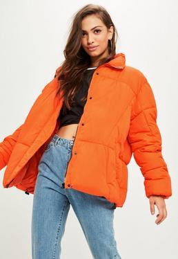 Orange Oversized Padded Jacket