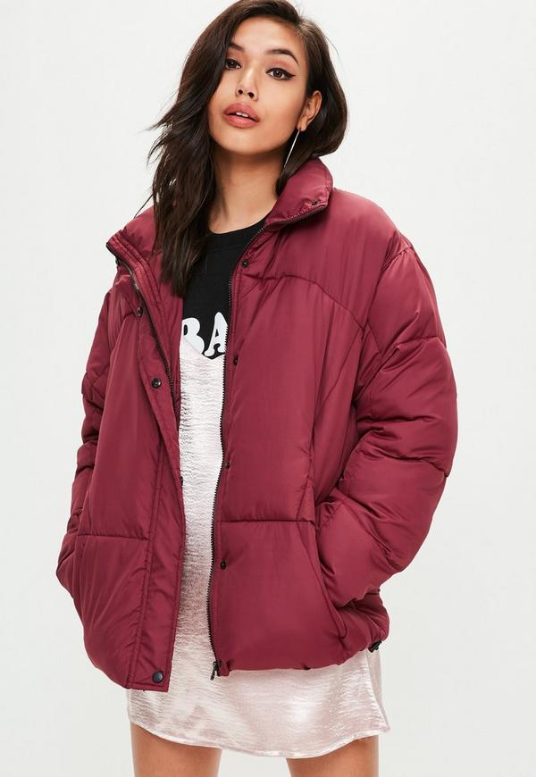 Burgundy Ultimate Oversized Puffer Jacket Missguided