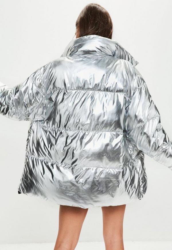 Silver Metallic Puffer Jacket
