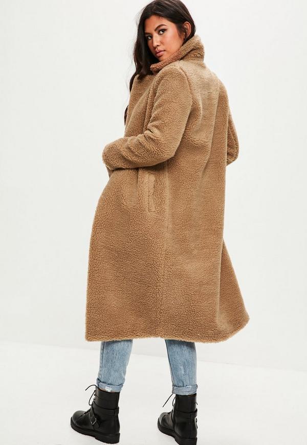 Tan Borg Teddy Coat Missguided