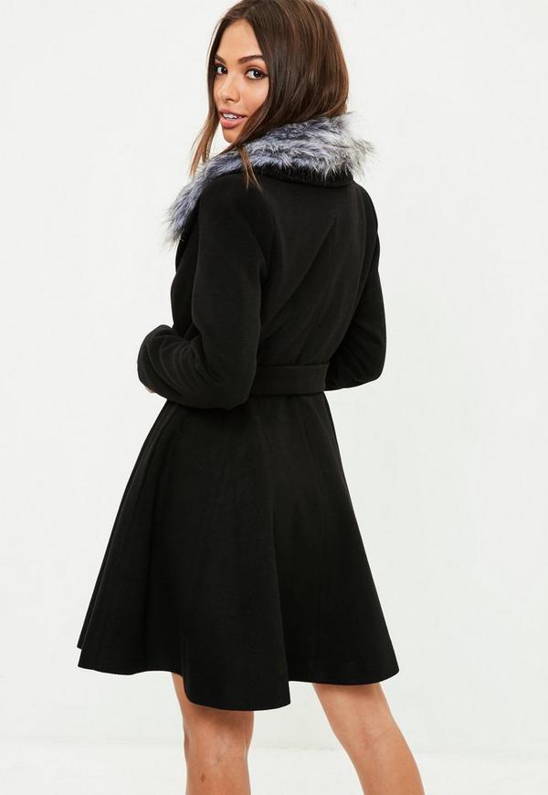 Black Belted Short Wool Skater Coat | Missguided