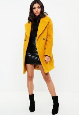 Yellow Oversized Boucle Coat