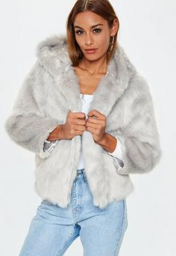 Gray Faux Fur Hooded Coat