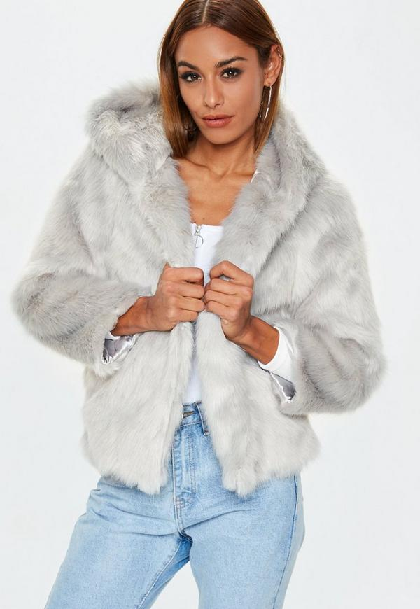 35b121675b4 Grey Faux Fur Hooded Coat