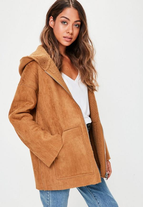 Tan Borg Hooded Teddy Jacket Missguided