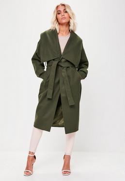 Premium Khaki Waterfall Coat