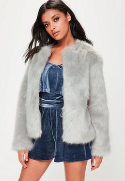 Grey Collarless Faux Fur Coat