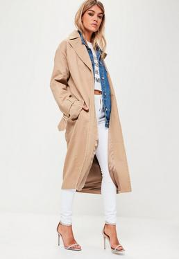 Beige D Ring Trench Coat