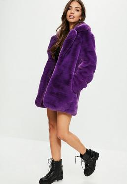 Purple Faux Fur Coat With Collar