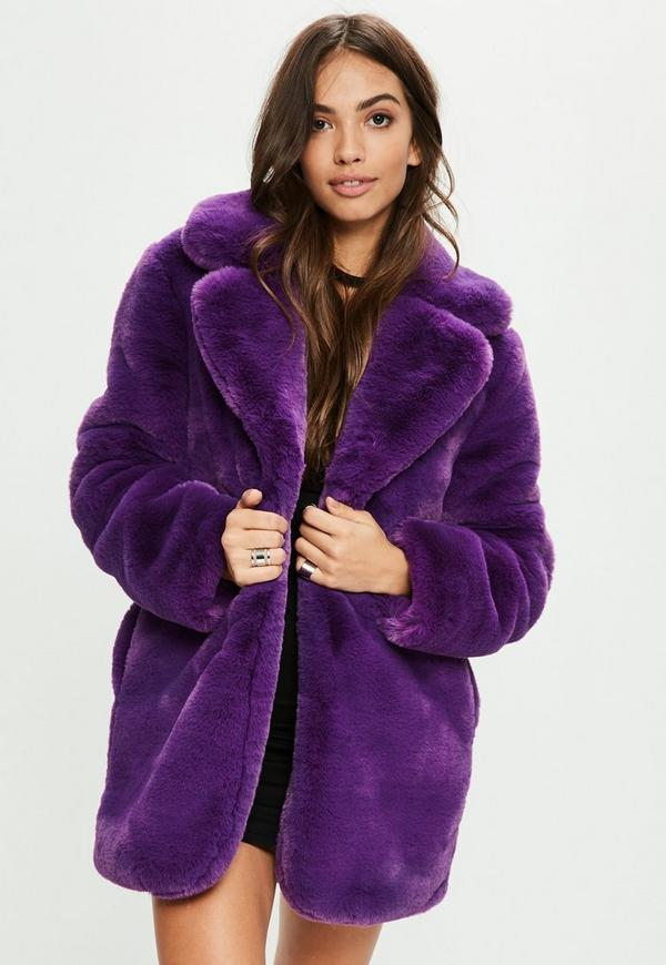 Purple Faux Fur Coat With Collar Missguided