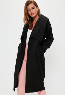 Premium Black Belted Waterfall Coat