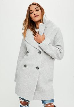 Grey Oversized Boucle Coat