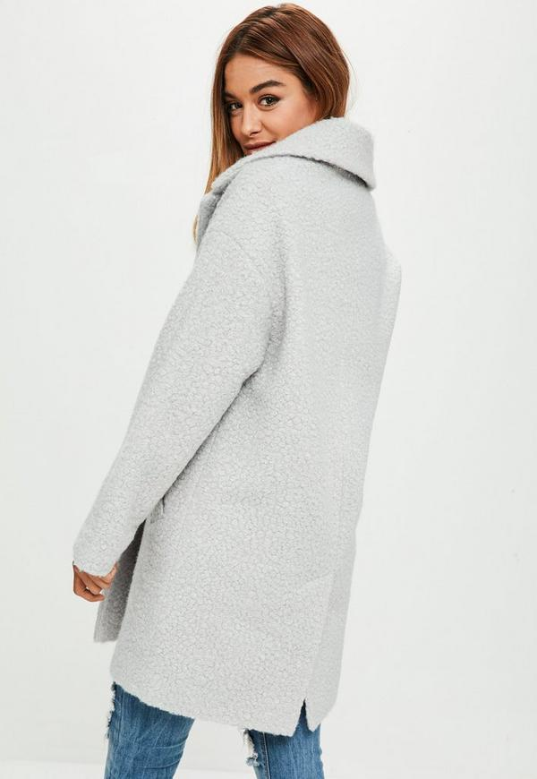 Grey Oversized Boucle Coat Missguided