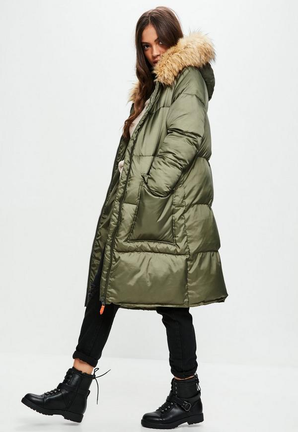 Khaki Oversized Faux Fur Hood Puffer Jacket Missguided