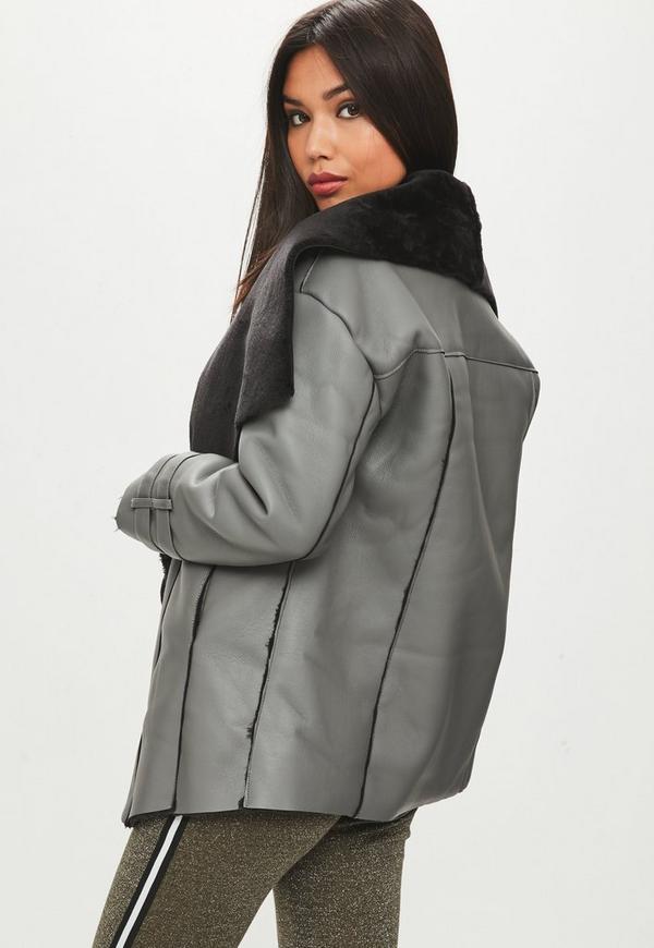 Premium Gray Waterfall Shearling Jacket | Missguided