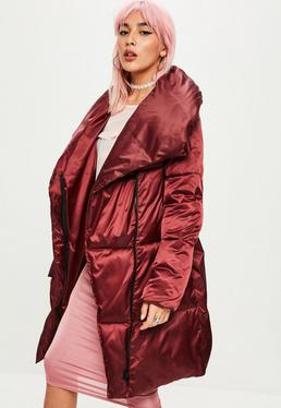 Burgundy Waterfall Puffer Jacket