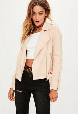 Pink Raw Edge Biker Jacket