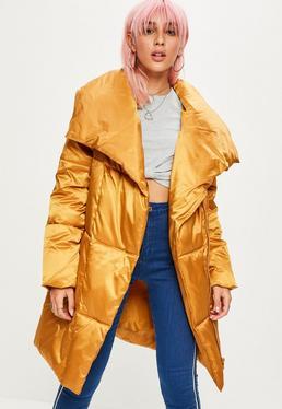 Mustard Waterfall Puffer Jacket