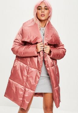Różowa kaskadowa watowana kurtka