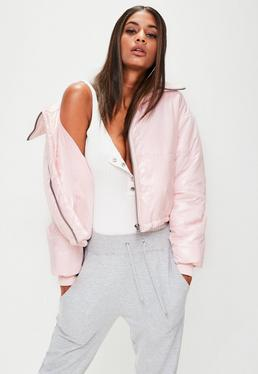 Pink High Shine Cropped Puffer Jacket