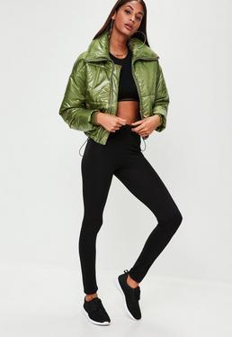 Khaki High Shine Cropped Puffer Jacket